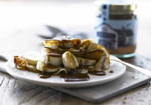 Pancakes, banana and sticky toffee sauce